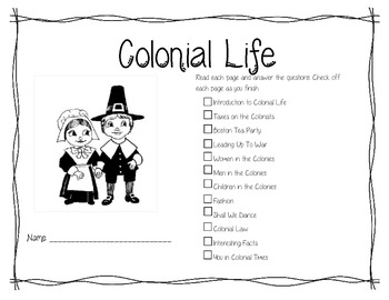 Life During Colonial Times History Booklet Social Studies