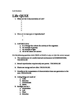 Life Quiz - 7th Grade Life Science