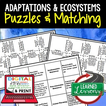 Life Science Adaptations & Ecosystems 2 Puzzles