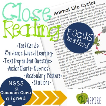 Life Science Close Reading Animal Life Cycle Evidence and