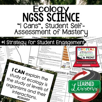 Life Science Ecology Student Self Assessment of Mastery I Cans