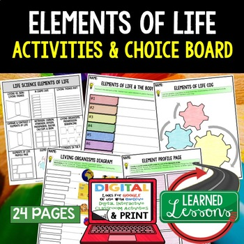 Life Science Elements of Life Choice Boards & Activity Pag