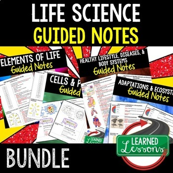 Life Science Guided Notes for Students and Teacher BUNDLE