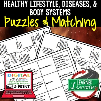 Life Science Healthy Lifestyle and Body Systems Puzzles