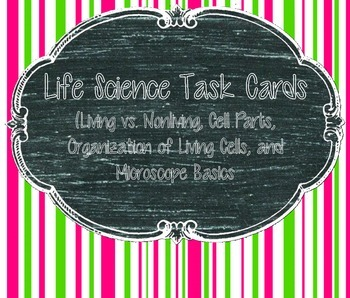 Cell Task Cards (Microscope, Living/Non-living, Cells/Functions)