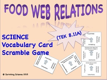 Life Science Vocabulary Scramble : FOOD WEB RELATIONS (TX