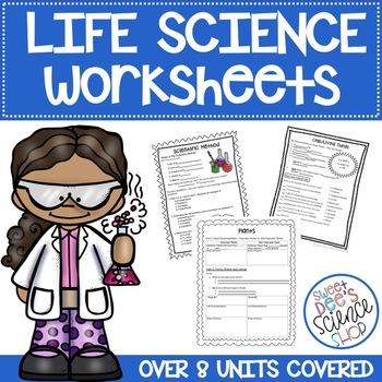Life Science Worksheets for 8 Unit Bundle!
