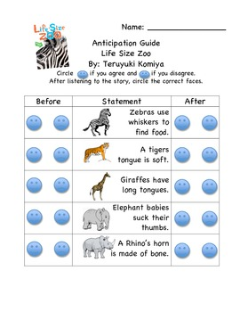 Life Size Zoo Anticipation Guide