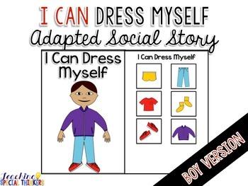 Life Skills Adapted Social Story: I Can Dress Myself {BOY