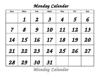 Life Skills Calendar - Monday color, trace, cut and paste