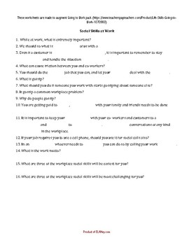 Life Skills - Going to Work - Add on worksheets