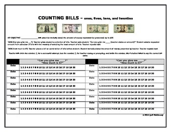 Life Skills Money Math IEP Data Collection on Counting Dol