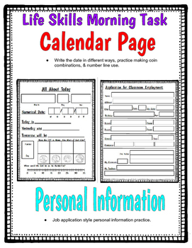 Life Skills Morning Task: Calendar & Personal Information