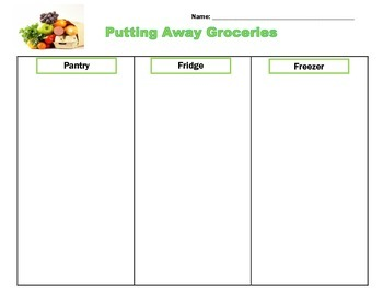 Life Skills: Putting Away Groceries Sorting Activity