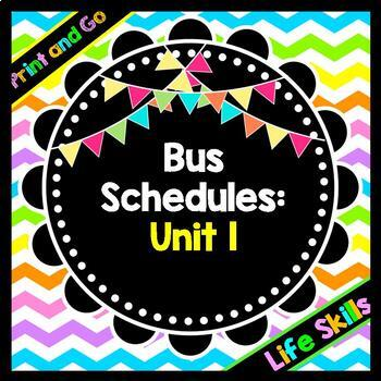 Life Skills Reading, Time and Math: Bus Schedule Vocabular