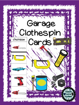 Life Skills Tasks: Garage Clothespin Cards