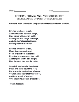 Life has Loveliness to Sell - Poem & Project/assignment Sa
