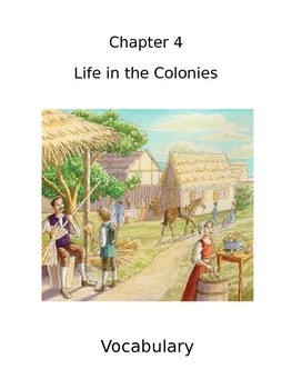 Life in the Colonies Vocabulary Cards