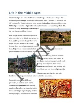 Life in the Middle Ages/Medieval Period - comprehension task