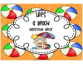 Life's A Beach! Classroom Decor Packet