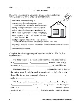 Lifeskills Vocabulary: Buying a Home
