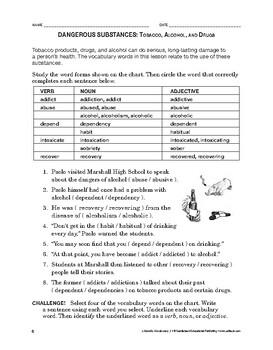 Lifeskills Vocabulary: Dangerous Substances: Tobacco, Alco