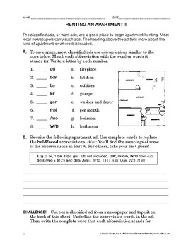 Lifeskills Vocabulary: Renting an Apartment 2