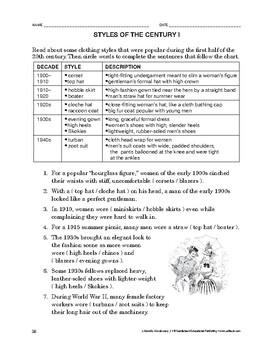 Lifeskills Vocabulary: Styles of the Century 1
