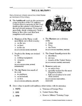 Lifeskills Vocabulary: The U.S. Military 1
