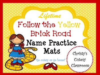 Lifetime Follow the Yellow Brick Road Name Practice Sheets