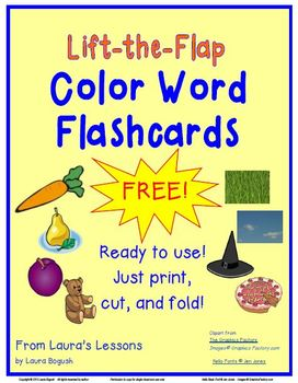 """FREE """"Lift-the-Flap"""" Color Word Flashcards"""