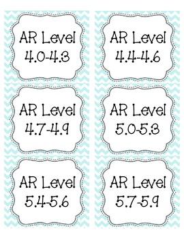 Light Blue Chevron AR Book Bin Labels