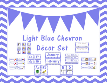 Light Blue Chevron Classroom Decor Set