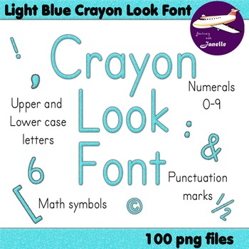 Alphabet Clip Art Light Blue Crayon Look + Numerals, Punct