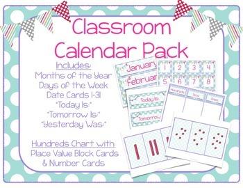 Light Blue Polka Dots Classroom Calendar Pack