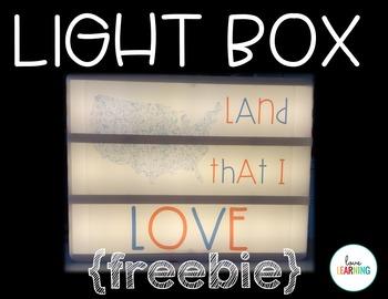 Light Box: 3 FREE Inserts That Celebrate America