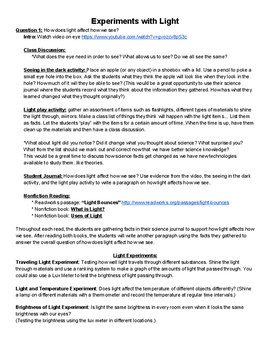 Light Science Unit - Experiments and ACT Aspire Practice I