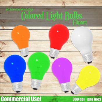 Light Bulb Clipart, 7 Colorful Light Bulbs
