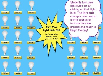 Light Bulb SMART Board Attendance Activity w/ SOUND and ANIMATION