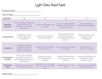 Light Choice Board Rubric