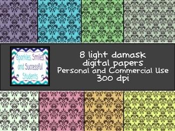 Digital Papers: Light Damask Pack