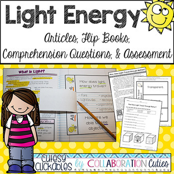 Light Energy Articles, Flip Books, Comprehension Questions