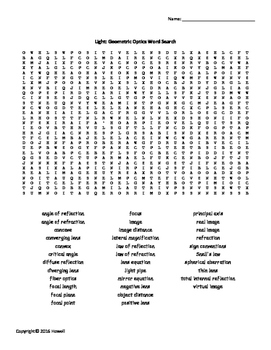 Light and Geometric Optics Vocab. Word Search for Physics