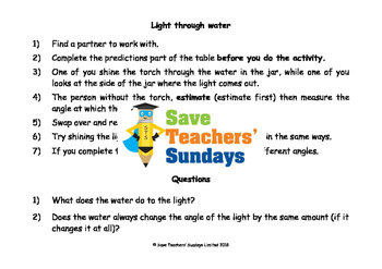 Light science investigation activities Lesson plan, Worksh