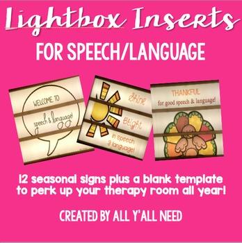 Lightbox Inserts for SLPs