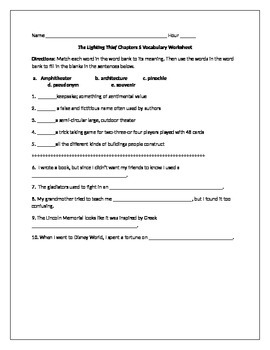 Lightening Thief Chapter 5 Vocabulary Worksheet