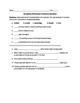 Lightening Thief Chapter 6 Vocabulary Worksheet
