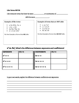 Like Terms Intro Notes