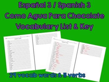 Like Water for Chocolate (Como Agua Para Choc) Spanish Voc