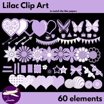Lilac Clip Art Decoration Scrapbooking Elements - 60 items